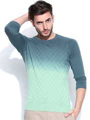 United Colors of Benetton Men Blue & Green Ombre Sweater