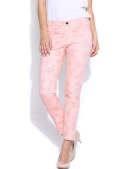 United Colors of Benetton Women Pink Printed Slim Fit Jeggings