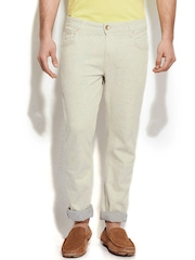United Colors of Benetton Men Cream-Coloured Skinny Fit Jeans
