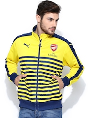 Puma Men Yellow & Blue AFC T7 Anthem with Sponsor Striped Jacket
