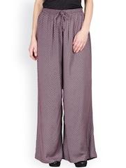 Ayaany Women Purple Printed Palazzo Trousers