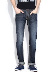 CAT Navy Low-Rise Washed Skinny Jeans