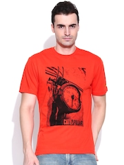 CAT Orange Printed T-shirt