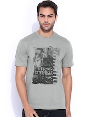 CAT Grey Slim Printed T-Shirt