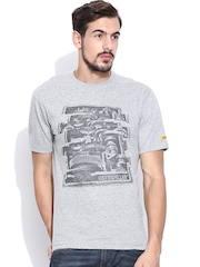 CAT Grey Melange Printed T-shirt