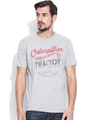 CAT Grey Melange Printed T-shirt