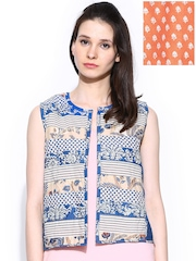 W Women Blue & Orange Printed Reversible Sleeveless Waistcoat