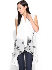 W White Floral Printed Sheer Shrug