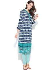 W Women Navy Printed Kurta