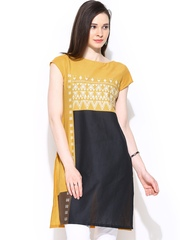 W Women Yellow & Black Printed Kurta