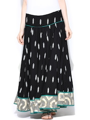 W Black Printed Maxi Skirt