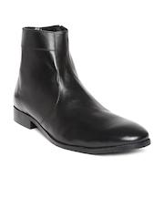 Carlton London Men Black Leather Semiformal Shoes