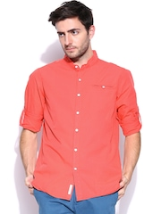 FREECULTR Men Coral Red Comfort Fit Casual Shirt