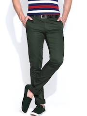 Allen Solly Men Olive Green Smart Fit Smart Casual Trousers
