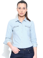 Adidas NEO Women Blue W Denim Shirt