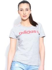 Adidas NEO Women Grey Melange W Basic Logo T-shirt