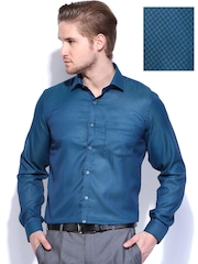 Mark Taylor Men Blue & Green Slim Fit Formal Shirt