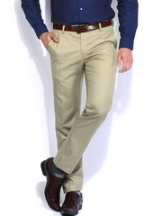 Black Coffee Men Beige Regular Slim Fit Formal Trousers