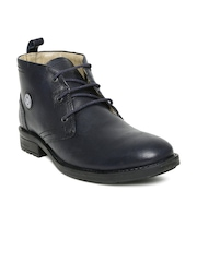 Red Chief Men Navy Leather Casual Shoes