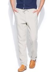 Jack & Jones Men Beige Linen Casual Trousers