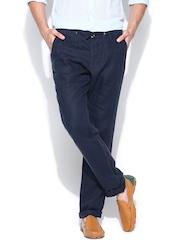 Jack & Jones Men Navy Linen Casual Trousers