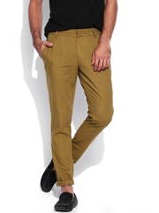 United Colors of Benetton Men Brown Linen Slim Fit Casual Trousers