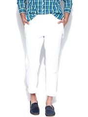 United Colors of Benetton Men White Linen Slim Fit Casual Trousers
