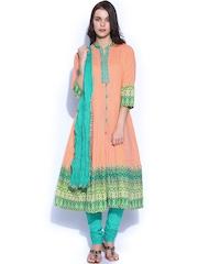 Rain & Rainbow Women Peach-Coloured & Green Anarkali Churidar Kurta with Dupatta