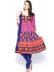 Rain & Rainbow Women Blue & Purple Printed Anarkali Churidar Kurta with Dupatta