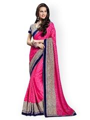 Desi Look Pink Embroidered Jacquard Fashion Saree