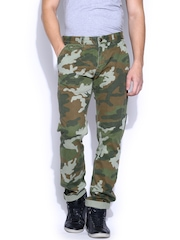 Ed Hardy Green & Brown Camouflage Printed Slim Trousers