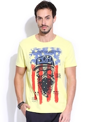 Ed Hardy Yellow Printed T-shirt