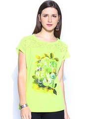 Flying Machine Women Lime Green Printed Lace Top