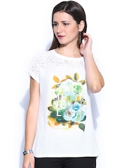 Flying Machine Women White Printed Lace Top