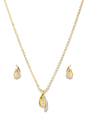 Estelle Gold-Toned Earrings & Pendant Set with Chain