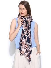Vero Moda Navy & Peach-Coloured Floral Printed Stole