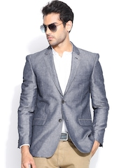 Allen Solly Men Blue Tailored Fit Single-Breasted Smart Casual Blazer