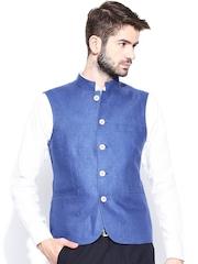 Allen Solly Men Blue Slim Fit Linen Nehru Jacket