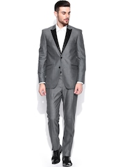 Allen Solly Men Grey Tailored Fit Single-Breasted Formal Suit