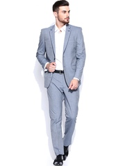 Allen Solly Men Grey Single-Breasted Tailored Fit Formal Suit