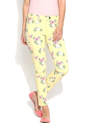 United Colors of Benetton Women Yellow Floral Printed Slim Fit Ankle-length Jeggings