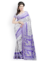 Majestic Silk Purple Art Crepe Printed Saree