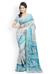 Majestic Silk Blue Art Crepe Printed Saree