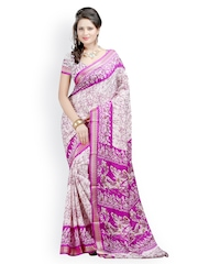 Majestic Silk Pink Art Crepe Printed Saree