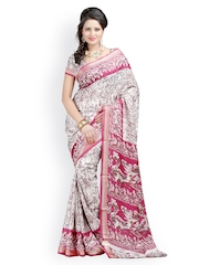 Majestic Silk Maroon Art Crepe Printed Saree