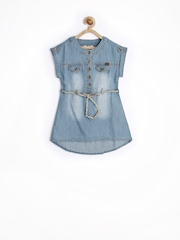 SELA Girls Blue Denim Shirt Dress