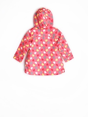 SELA Girls Pink Printed Hooded Windbreaker Jacket