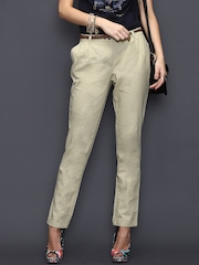 SELA Women Beige Linen Trousers