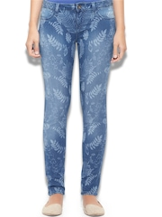 United Colors of Benetton Women Blue Printed Slim Fit Jeggings
