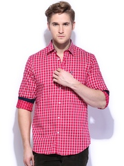 Arrow Sport Men Pink & White Checked Hudson Semi-Slim Fit Casual Shirt